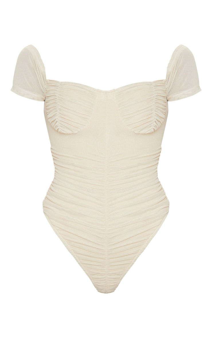 Nude Mesh Ruched Short Sleeve Bodysuit 3