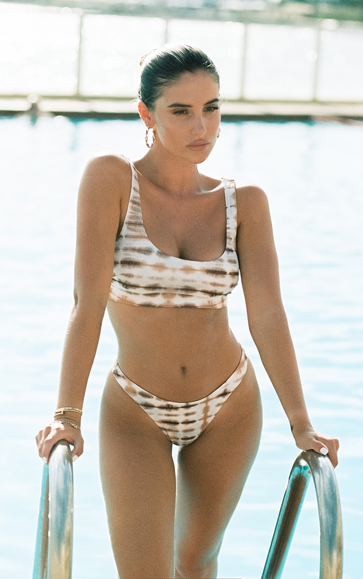 Nude Ribbed Tie Dye High Leg Bikini Bottoms 1