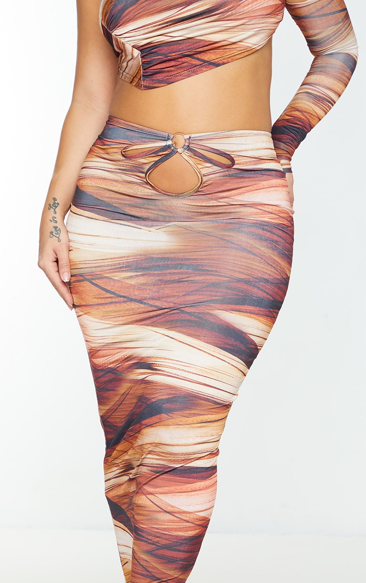 Shape Brown Layered Print Slinky Cut Out Detail Midaxi Skirt 4