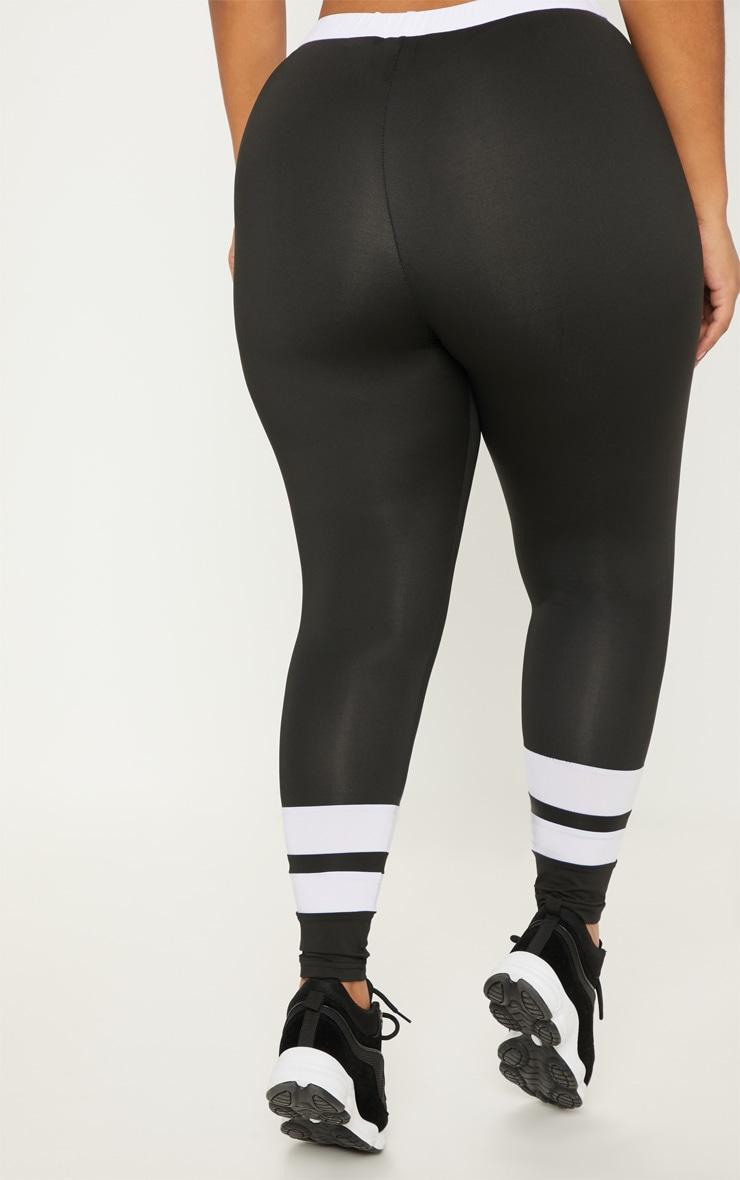 Plus Black Contrast Panel Legging  4