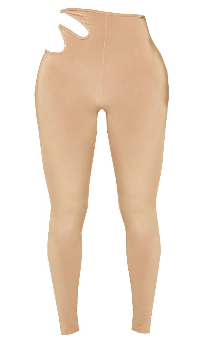 Shape Soft Brown Slinky Ring Detail Cut Out Side Leggings 5
