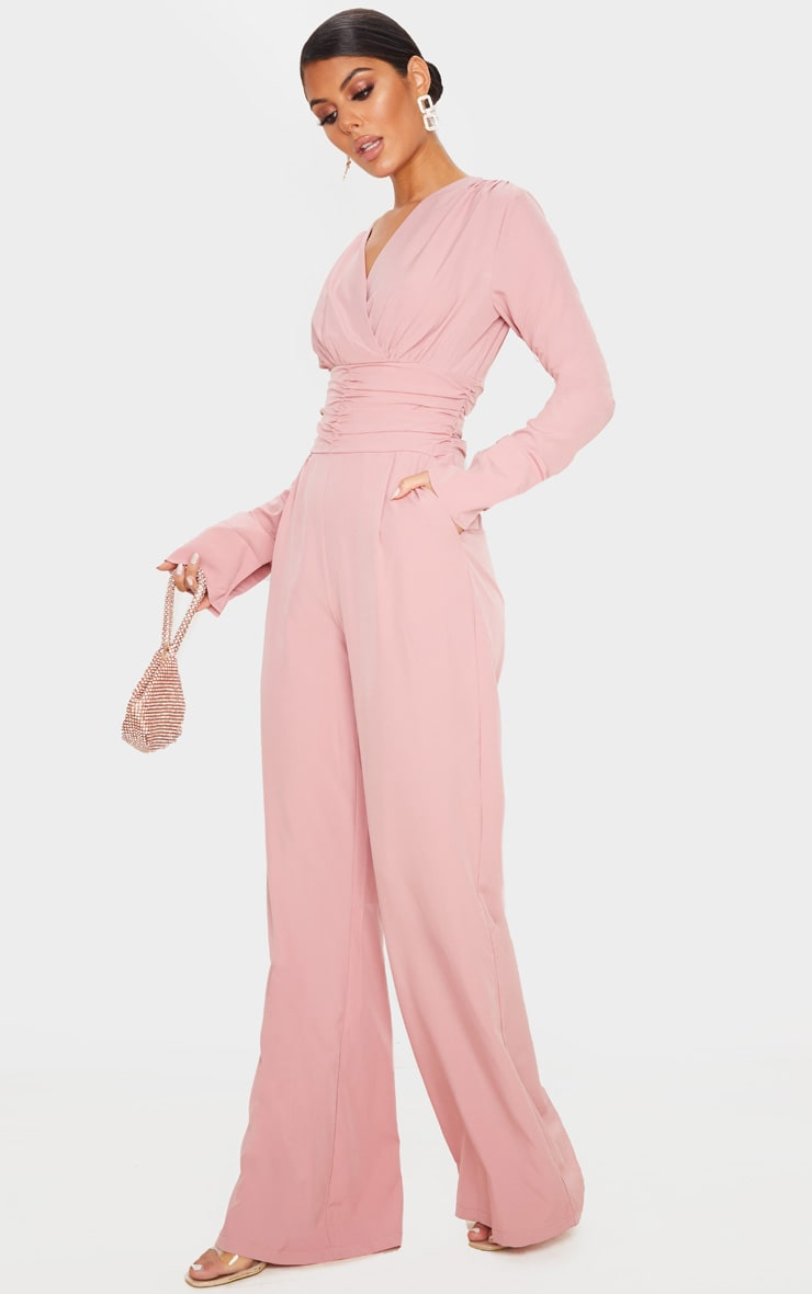 Dusty Pink Pleated Waist Plunge Jumpsuit 4