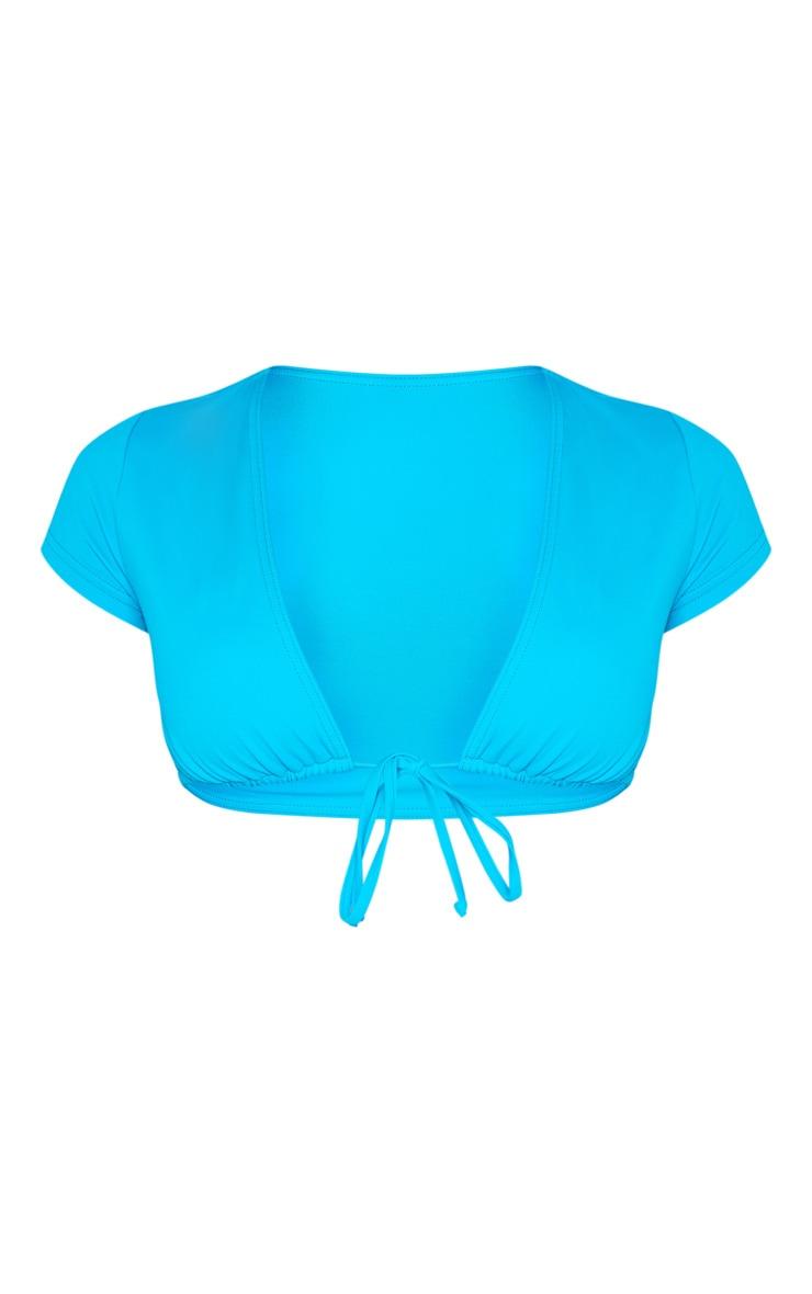 Haut de maillot de bain manches courtes turquoise à noeud 5