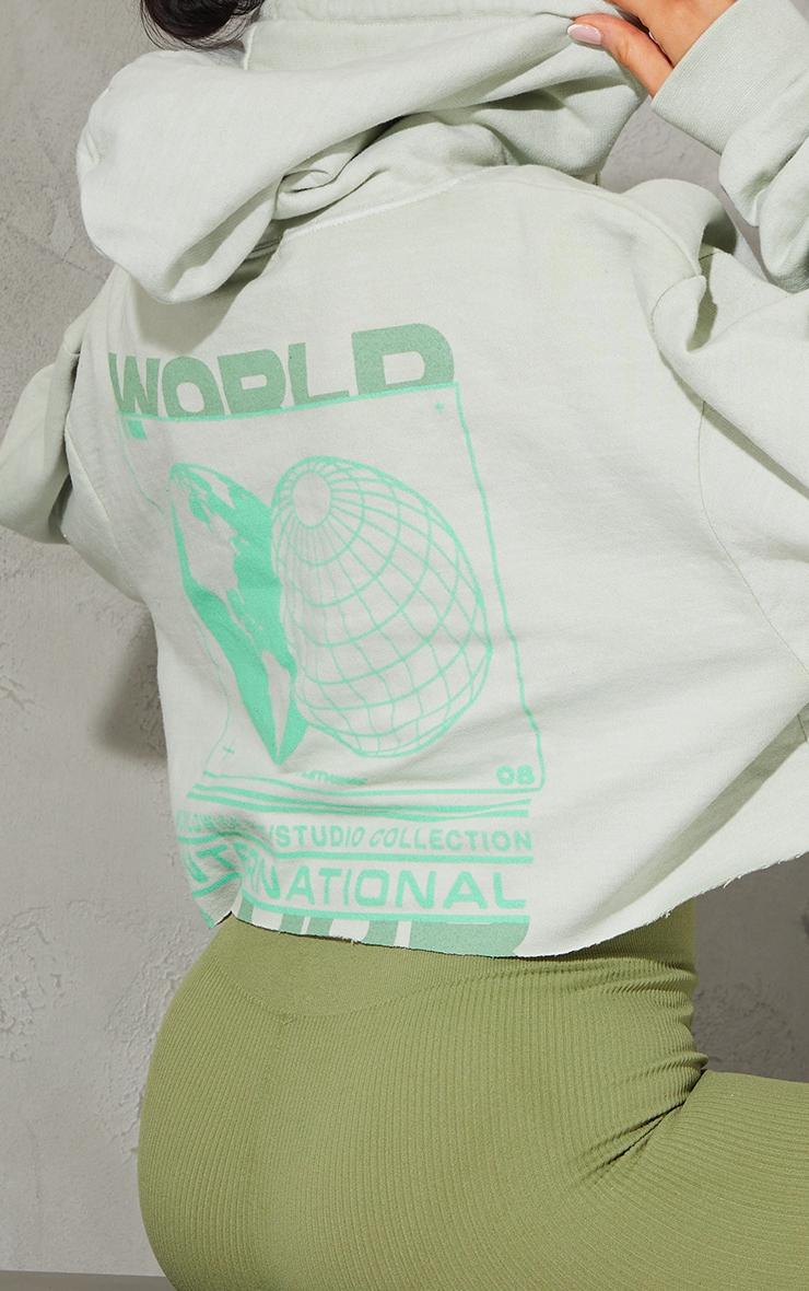 Sage Green Worldwide Globe Back Print Cropped Washed Hoodie 4