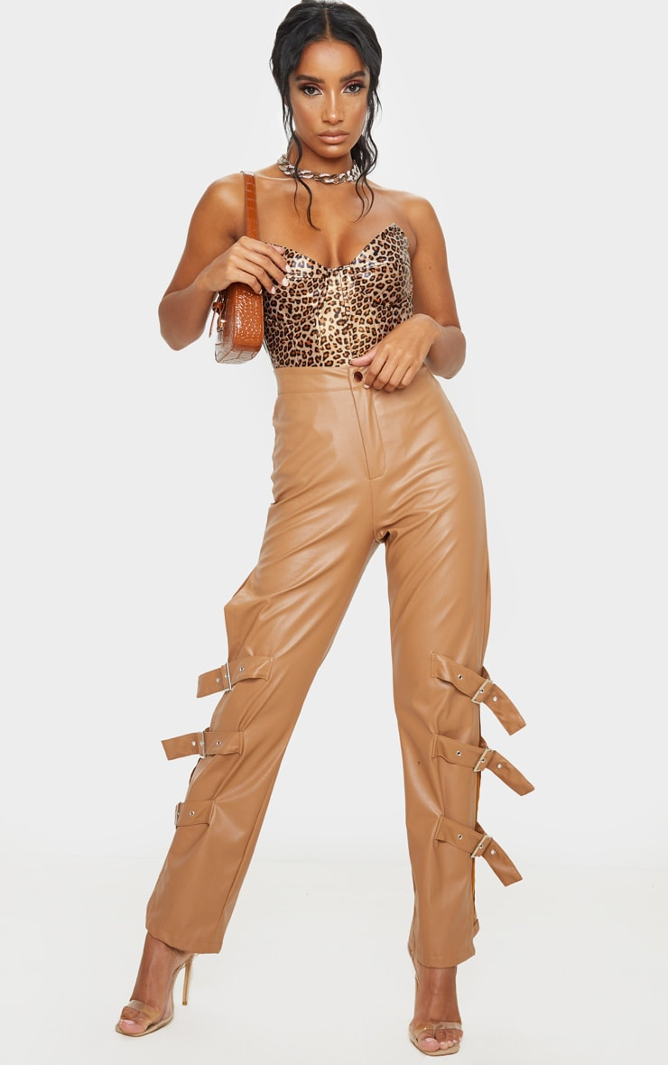 Tan Leopard Print Faux Leather V Wire Bodysuit 3