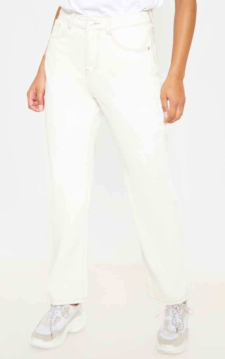 Ecru Straight Leg Cropped Jean 2