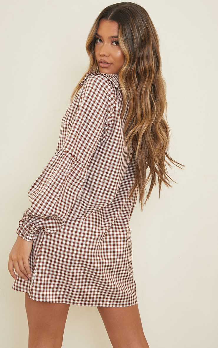 Chocolate Check Print Frill Collar Balloon Sleeve Shirt Dress 2