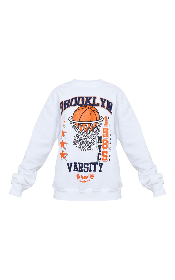 Petite White Brooklyn Basketball Varsity Slogan Sweatshirt 5