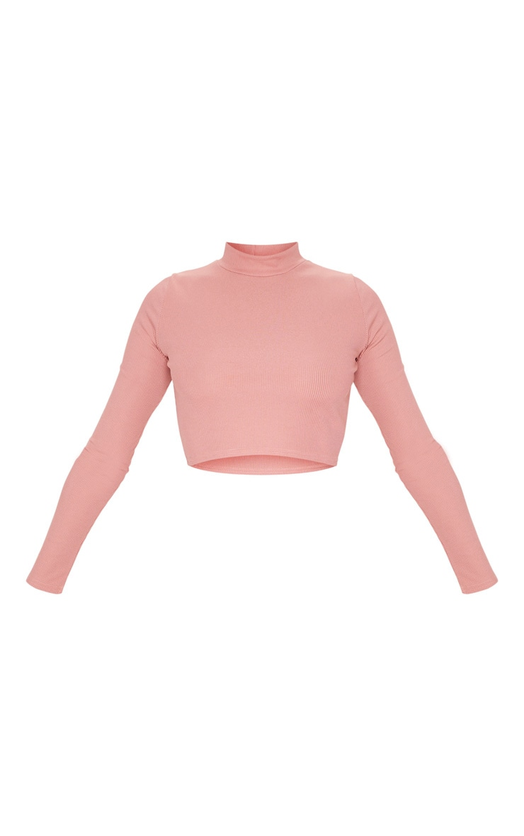 Dusty Pink High Neck Ribbed Long Sleeve Crop Top 5