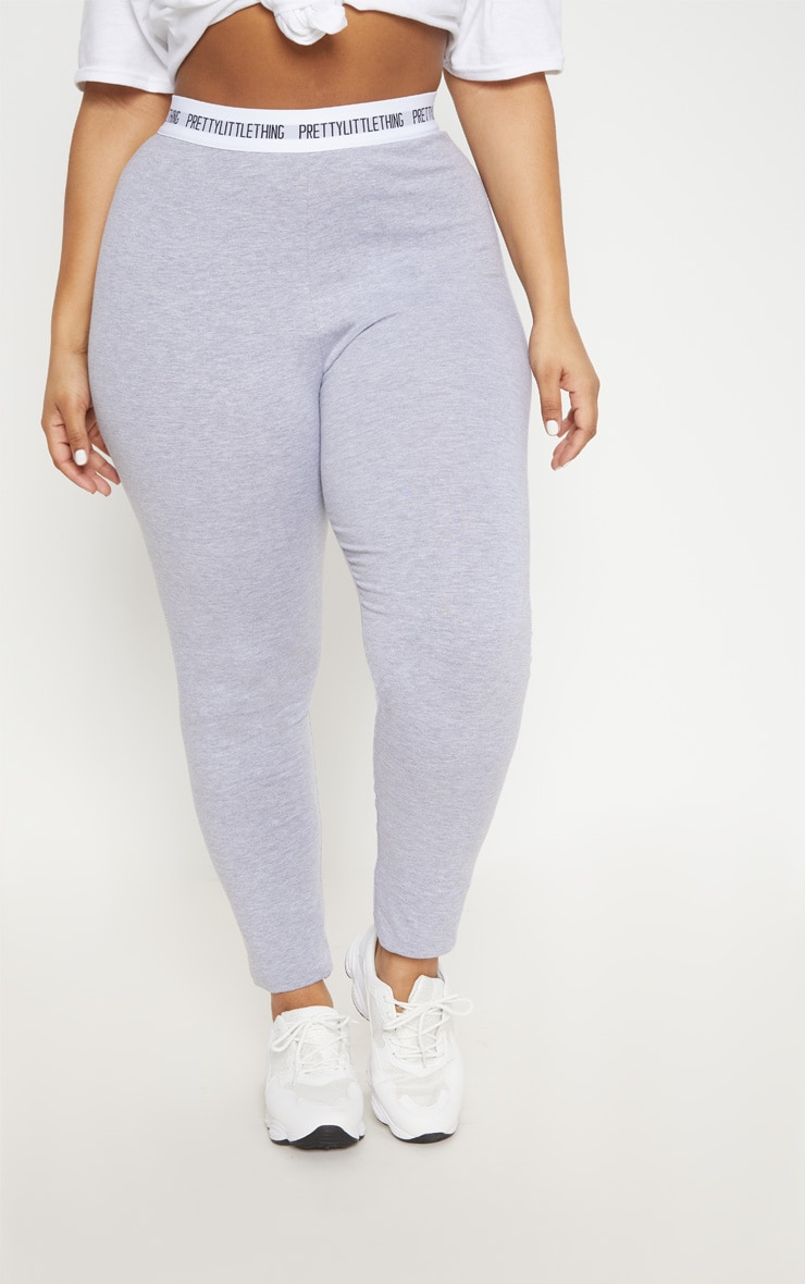 PRETTYLITTLETHING Plus Grey Marl Leggings 2