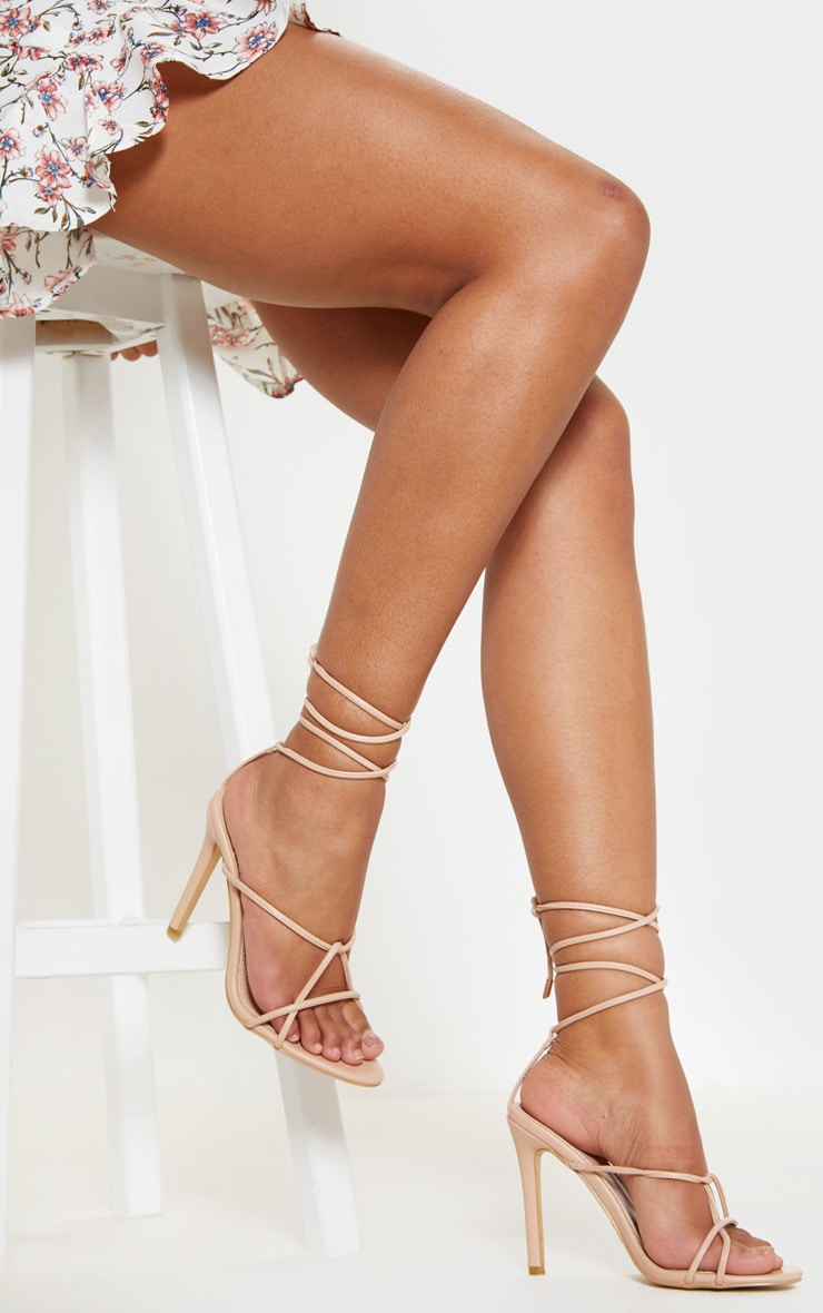 Nude Strappy Tie Sandal 2