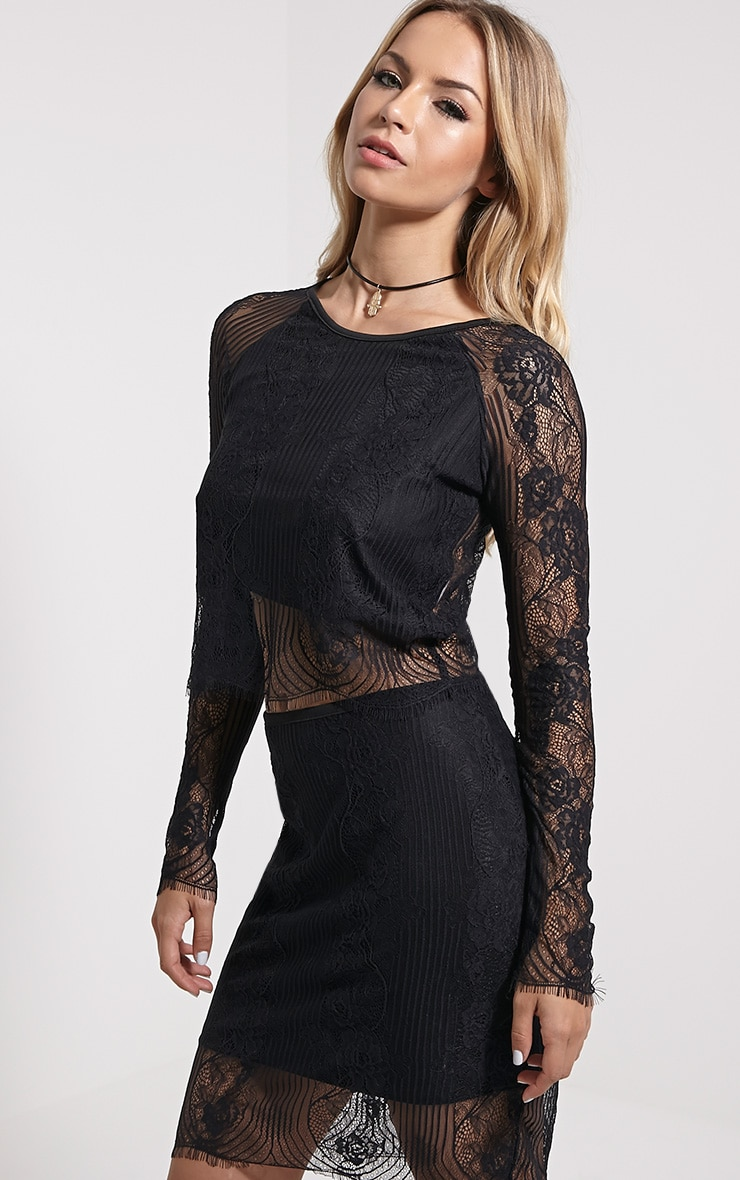 Luisa Black Lace Long Sleeve Top 4