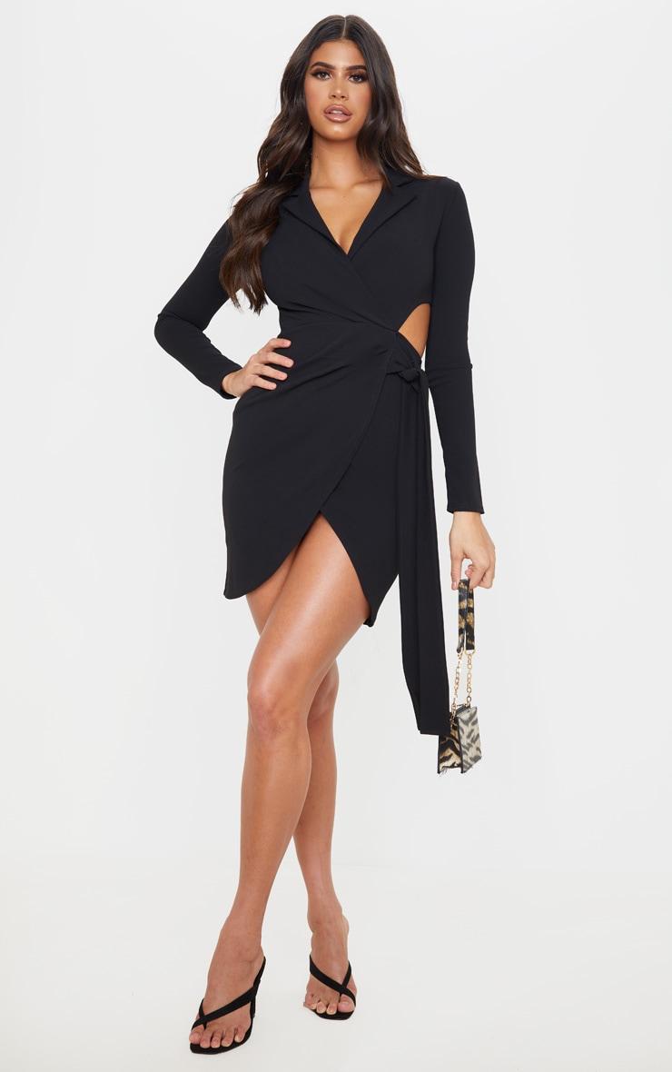 Black Long Sleeve Tie Waist Detail Blazer Dress 3