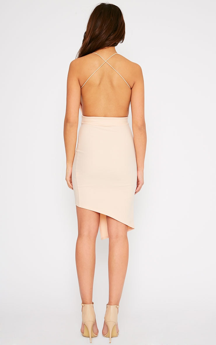 Raye Nude Cross Back Asymmetric Dress 2