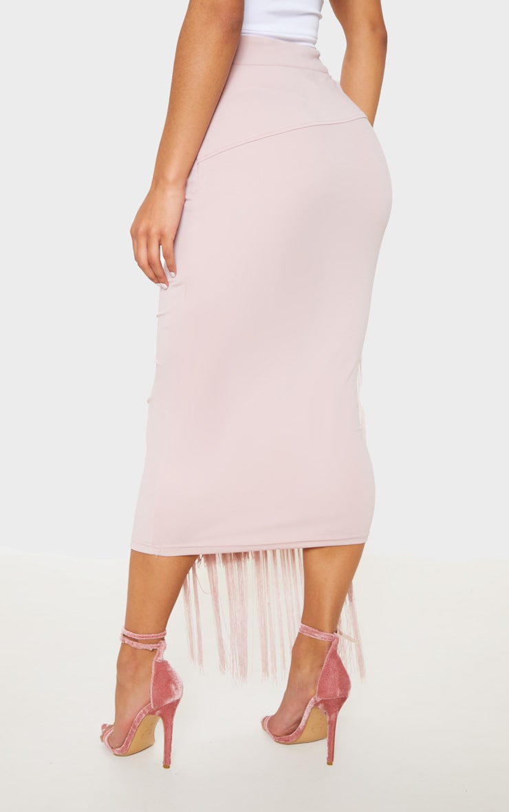 Pale Pink Fringe Detail Tiered Midaxi Skirt 4