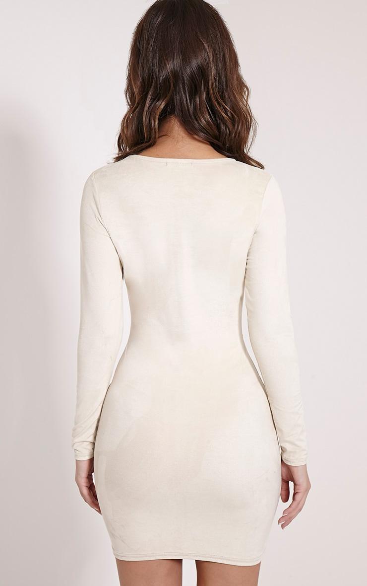 Braelynn Cream Faux Suede Long Sleeve Mini Dress 2