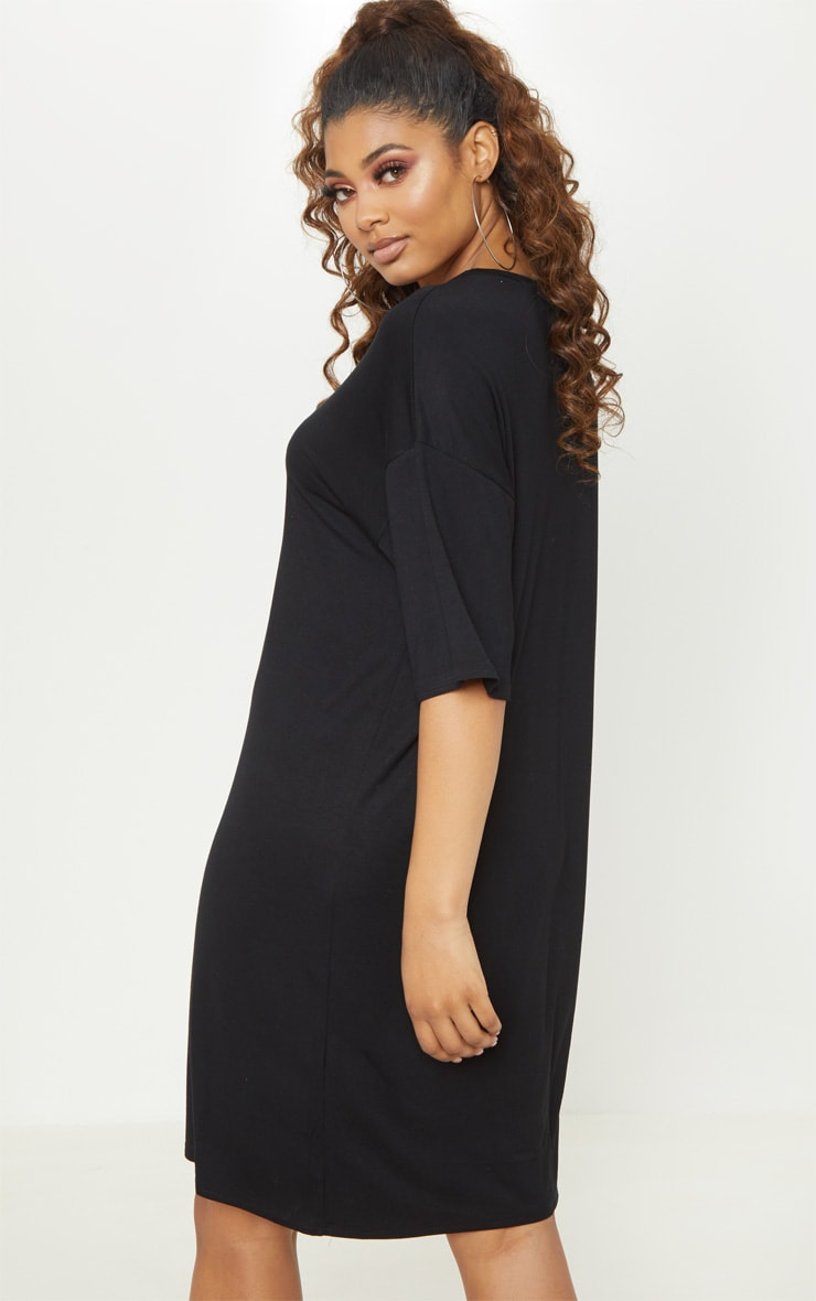 Tall Black Oversized T-shirt Dress 2