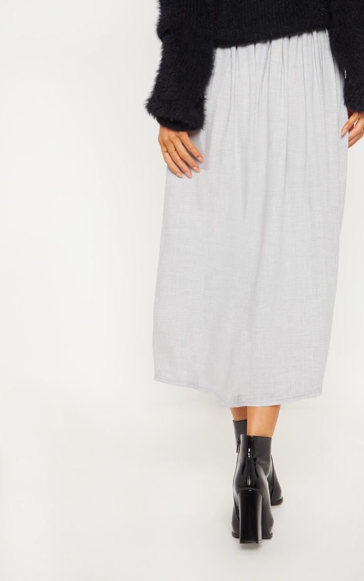 Grey Floaty Side Button Detail Midi Skirt 4