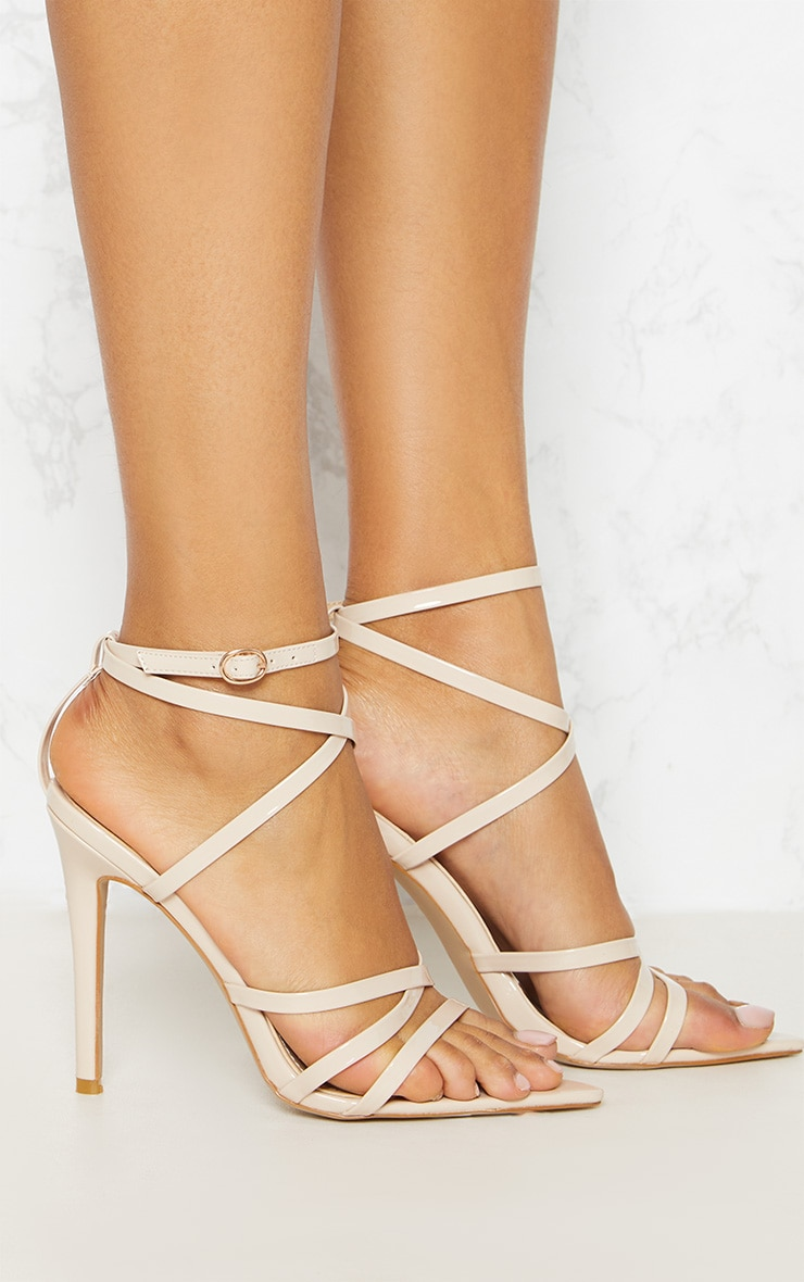 Nude Patent Strappy Point Toe Heels 5