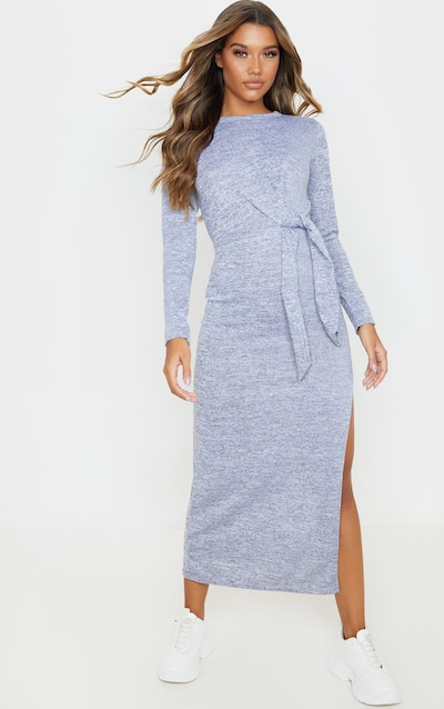 Grey Tie Waist Knitted Midaxi Dress
