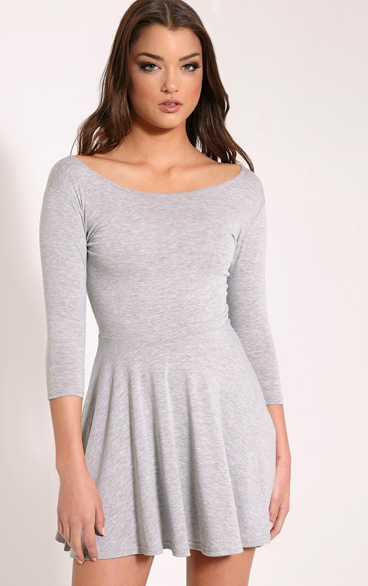 3712bcd55e34 Basic Grey Long Sleeve Jersey Skater Dress image 1