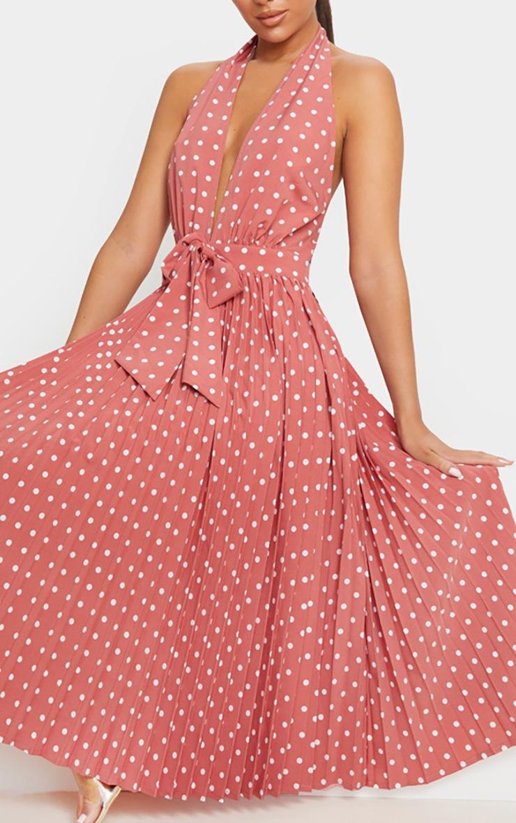 Dusty Pink Halterneck Pleated Midi Dress 5