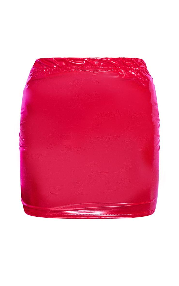 Red Vinyl Bodycon Mini Skirt 4