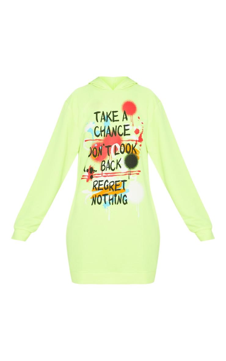 Neon Yellow Graffiti Slogan Oversized Hoodie Jumper Dress 3