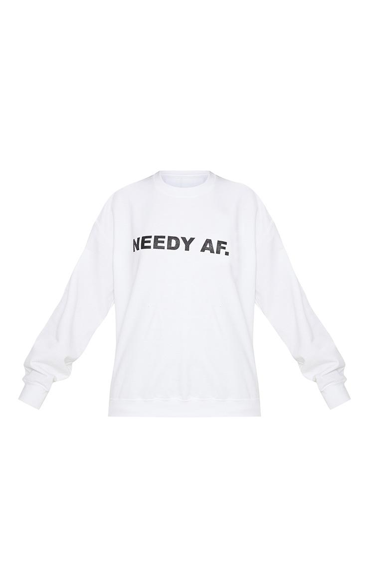 White Needy AF Slogan Sweater 3