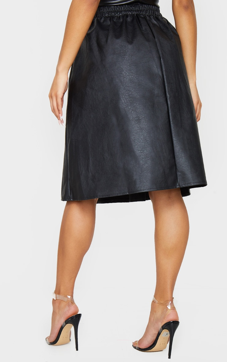 Black Faux Leather Pleated Midi Skirt 3