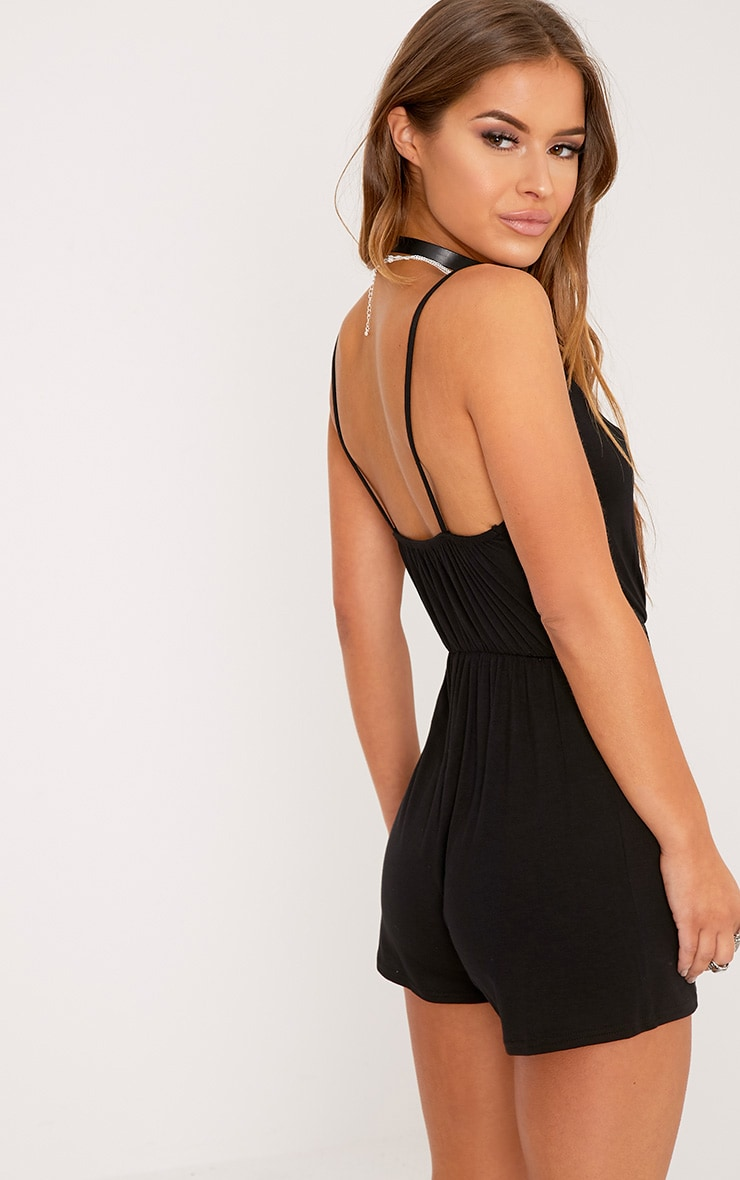 Petite Amelia Black Basic Playsuit 2