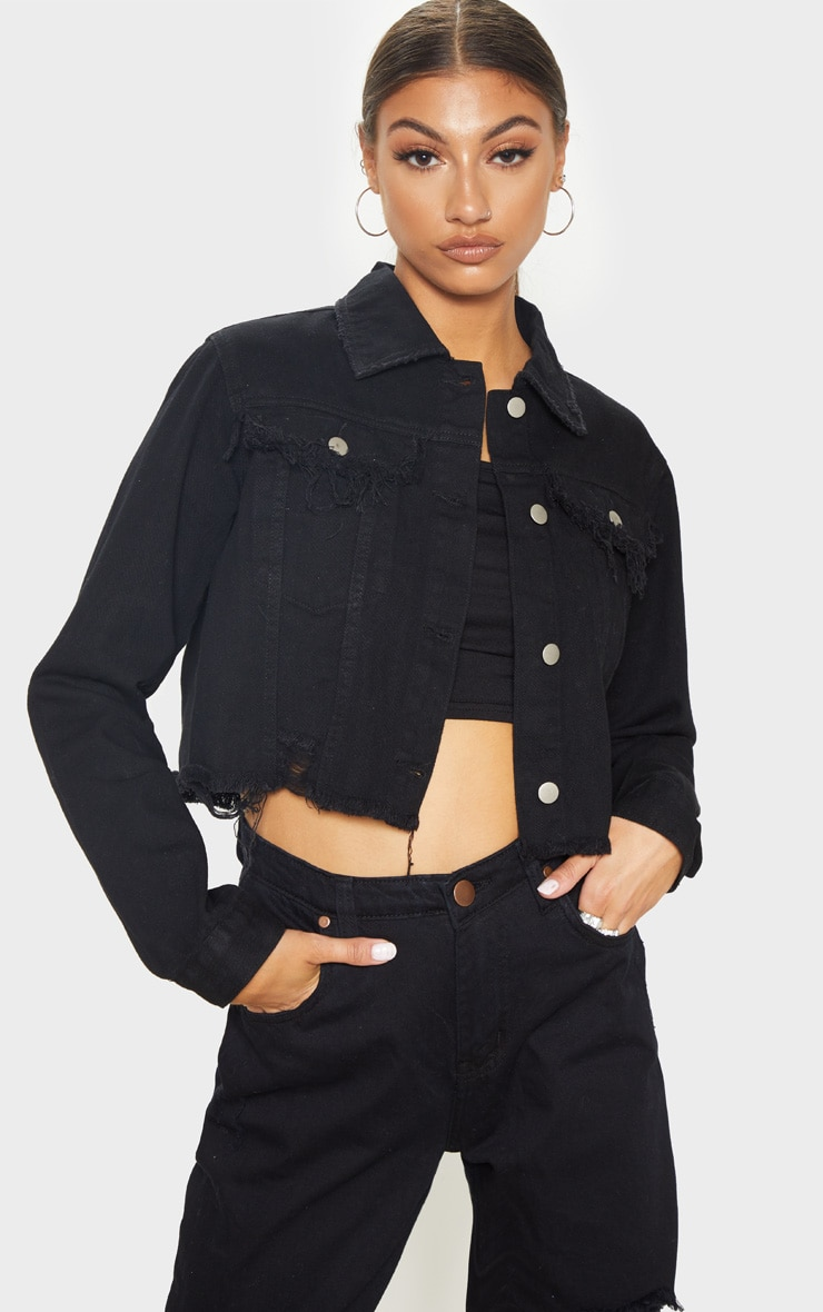 Tall Black Cropped Denim Jacket 1