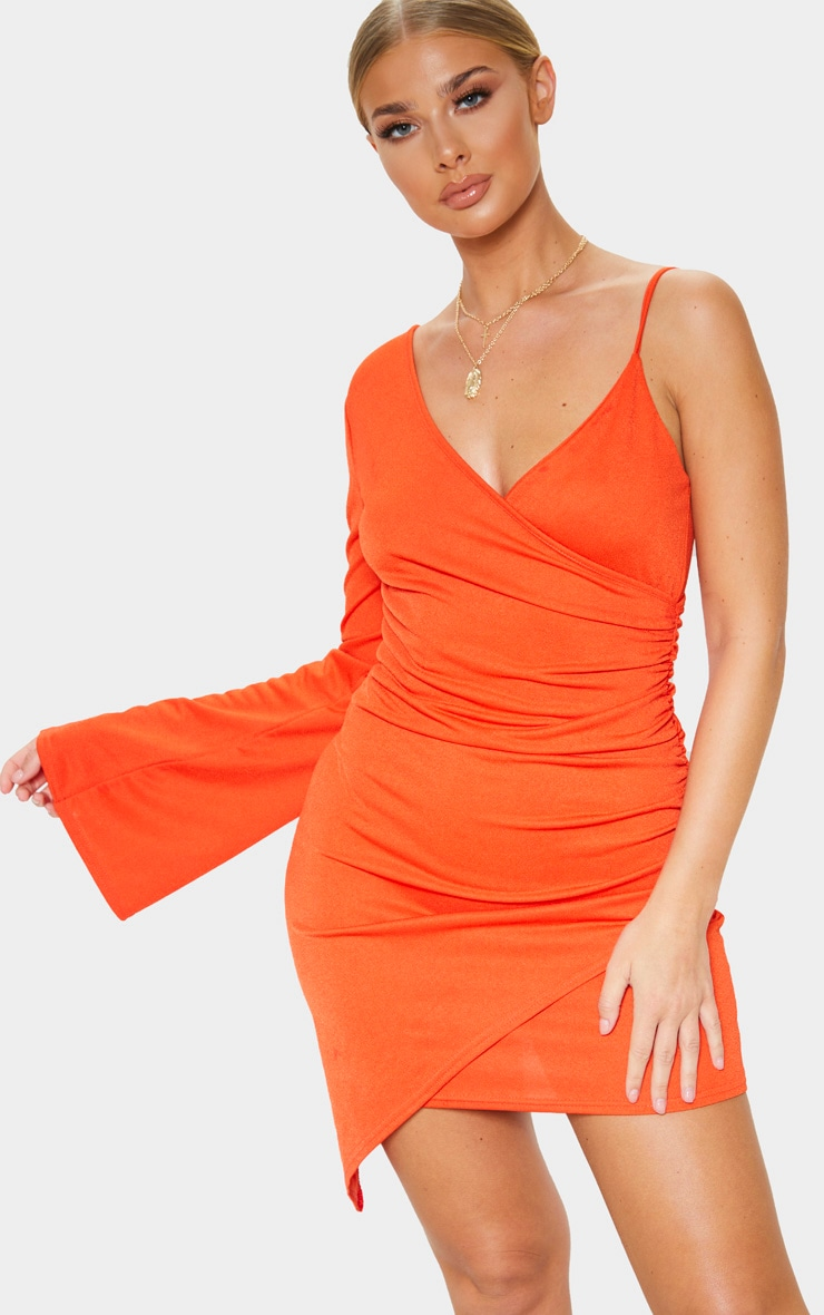 Orange Ruched Side Asymmetric Hem Bell Sleeve Bodycon Dress