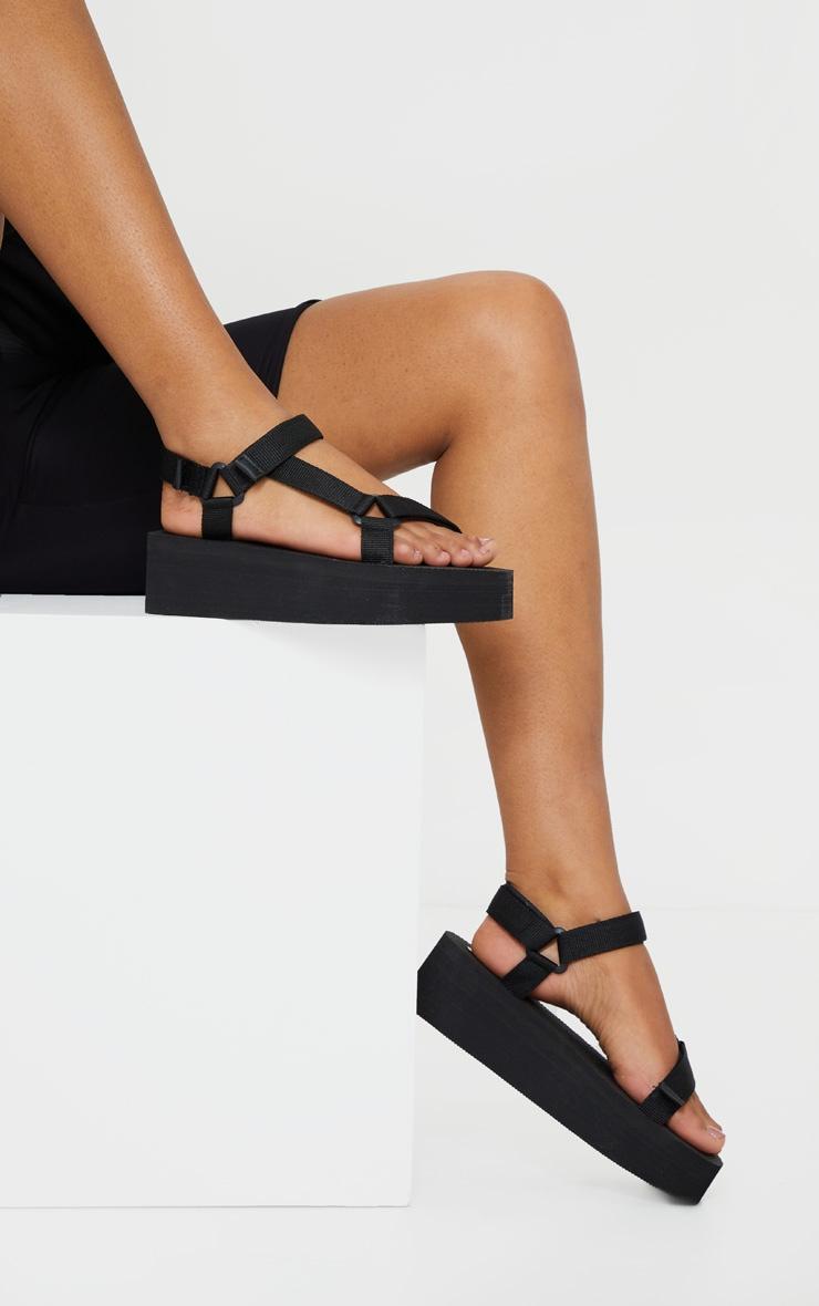 Black Sports Flatform Sandals 2