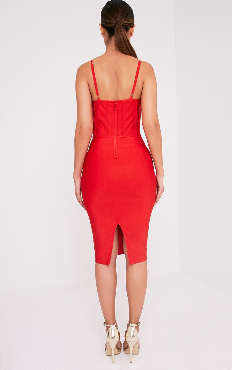 Bethan Red Bandage Mesh Insert Midi Dress 2