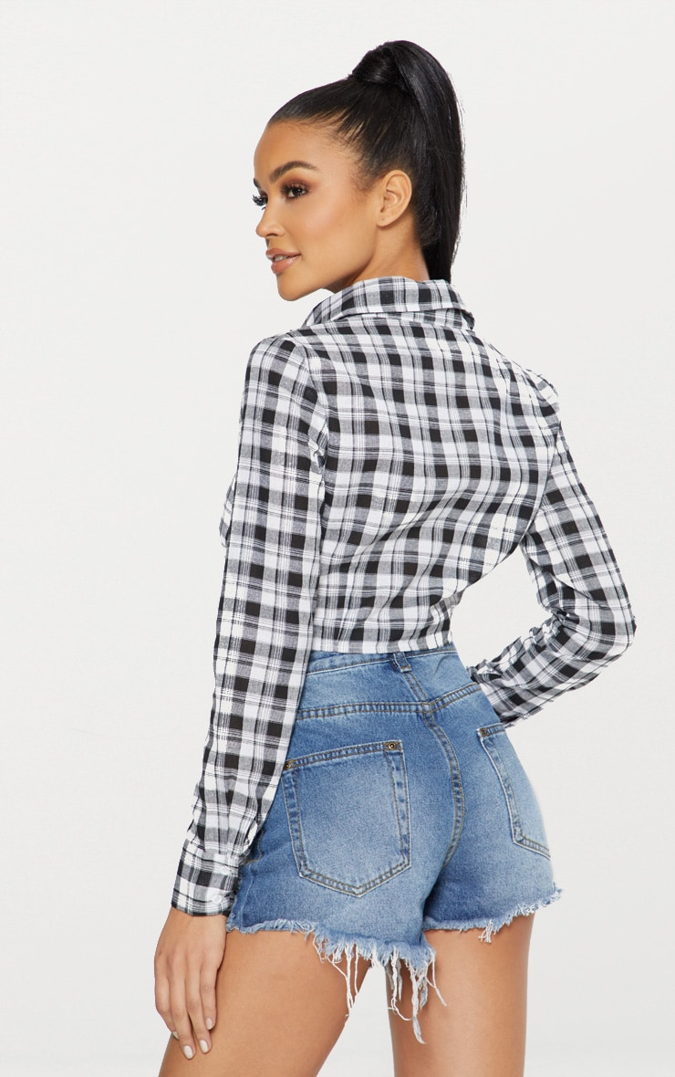 Black Crop Check Tie Front Shirt  2