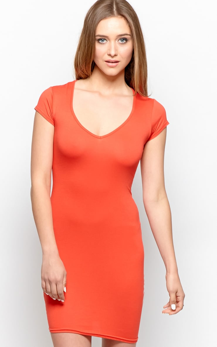 Finola Red Jersey V Neck Dress 1