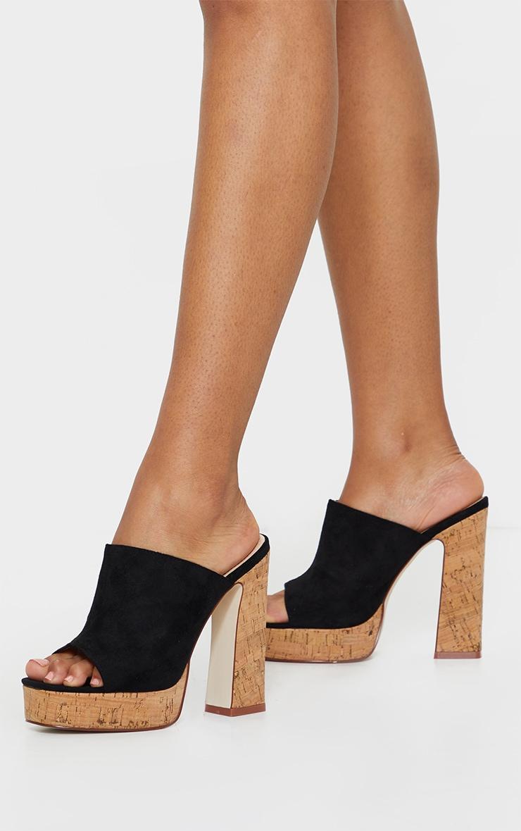 Black Cork Mule High Platform Sandals