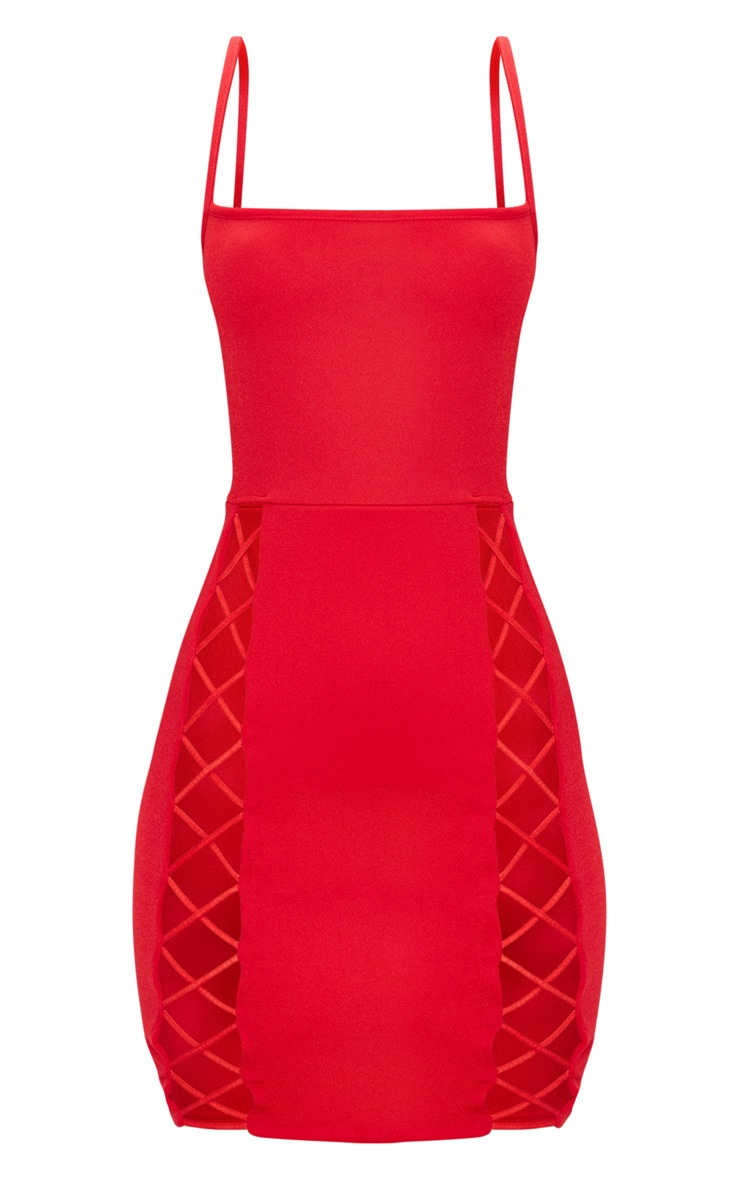 Red Strappy Square Neck Lace Up Thigh Bodycon Dress 3