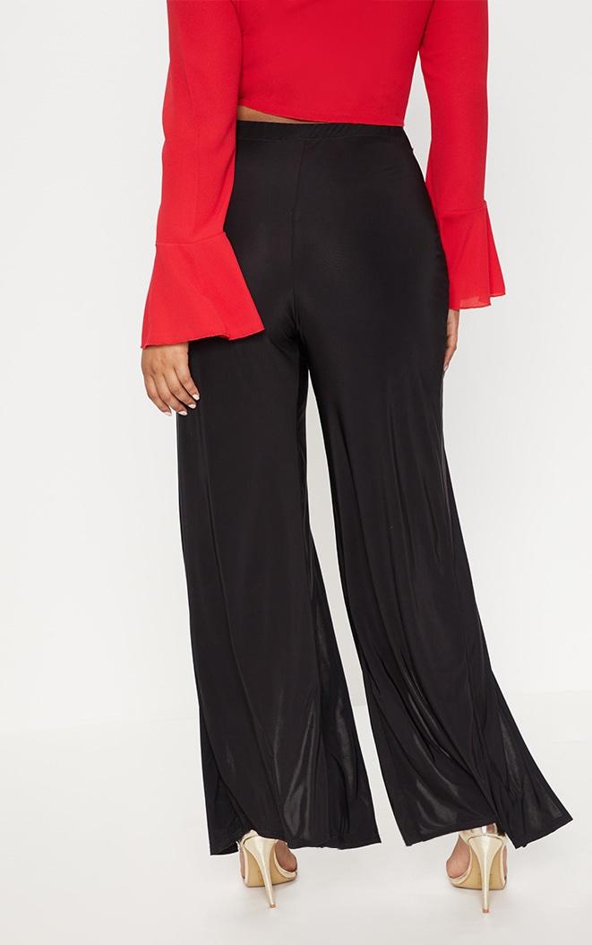 Plus Black Slinky Split Front Wide Leg Trousers 4