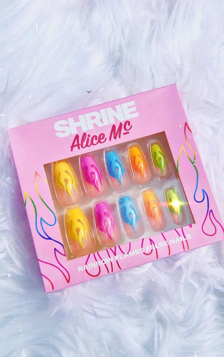 SHRINE Rainbow Flame Stick On Nails 3