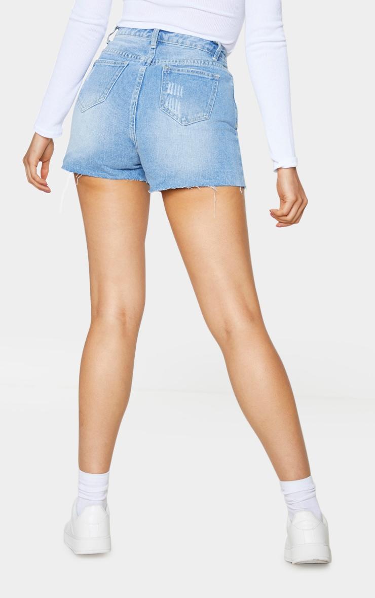Tall Light Blue Wash Distressed Denim Mom Shorts 3