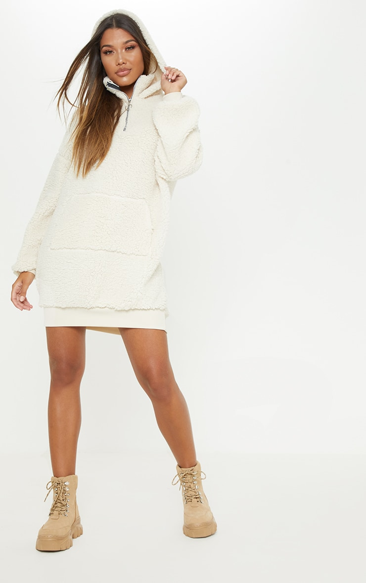 Cream Borg Zip Front Jumper Dress 5