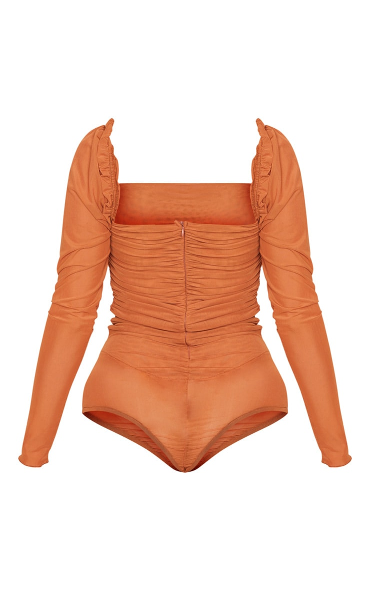 Rust Sheer Mesh Ruched Puff Sleeve Bodysuit 4