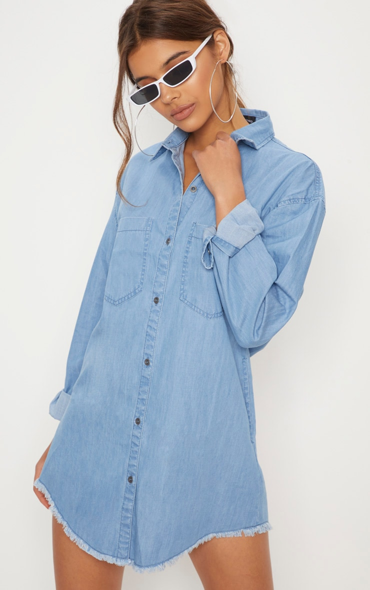 Light Wash Frayed Hem Oversized Shirt Dress  1