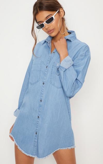 Robe chemise en jean délavé oversized à bordure élimée 80a8c2670ce8