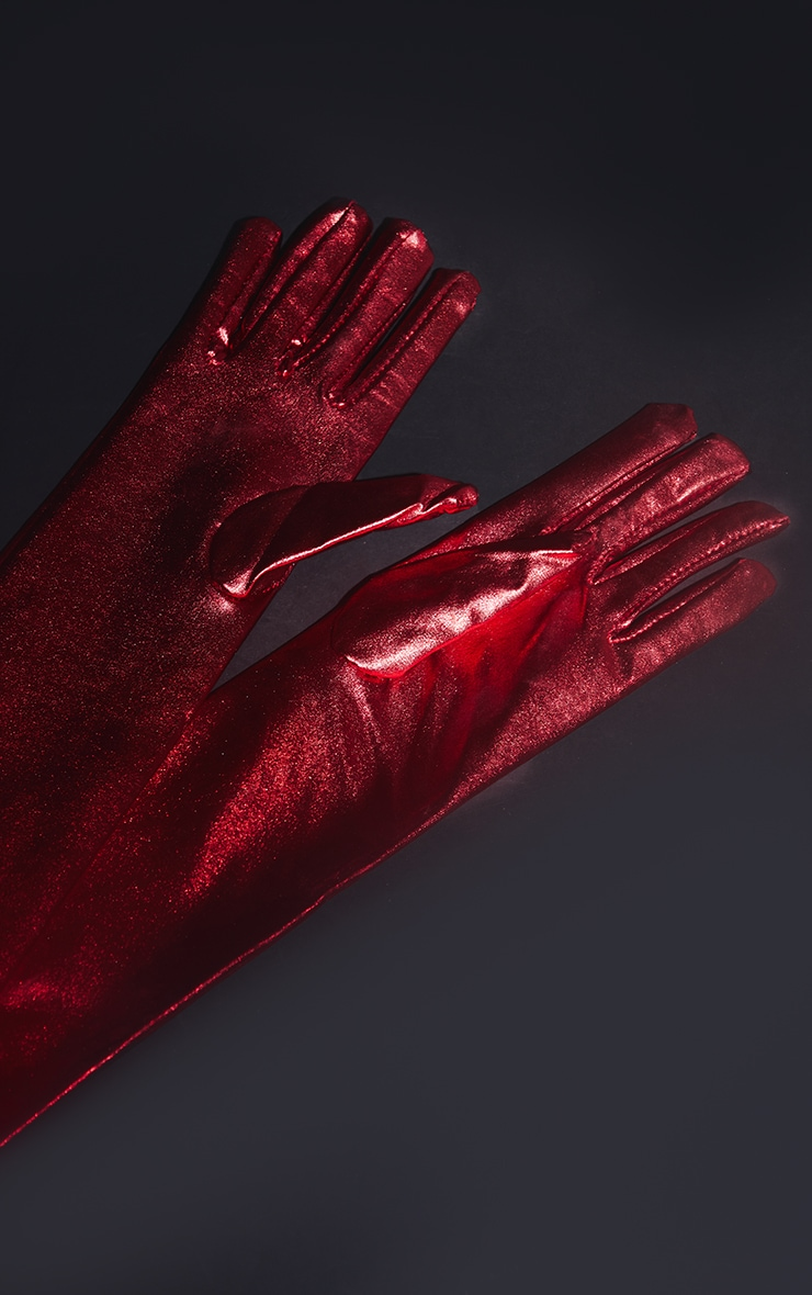 Red Leather Look Gloves 3
