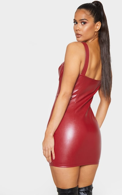 Oxblood Faux Leather Sleeveless Bodycon Dress