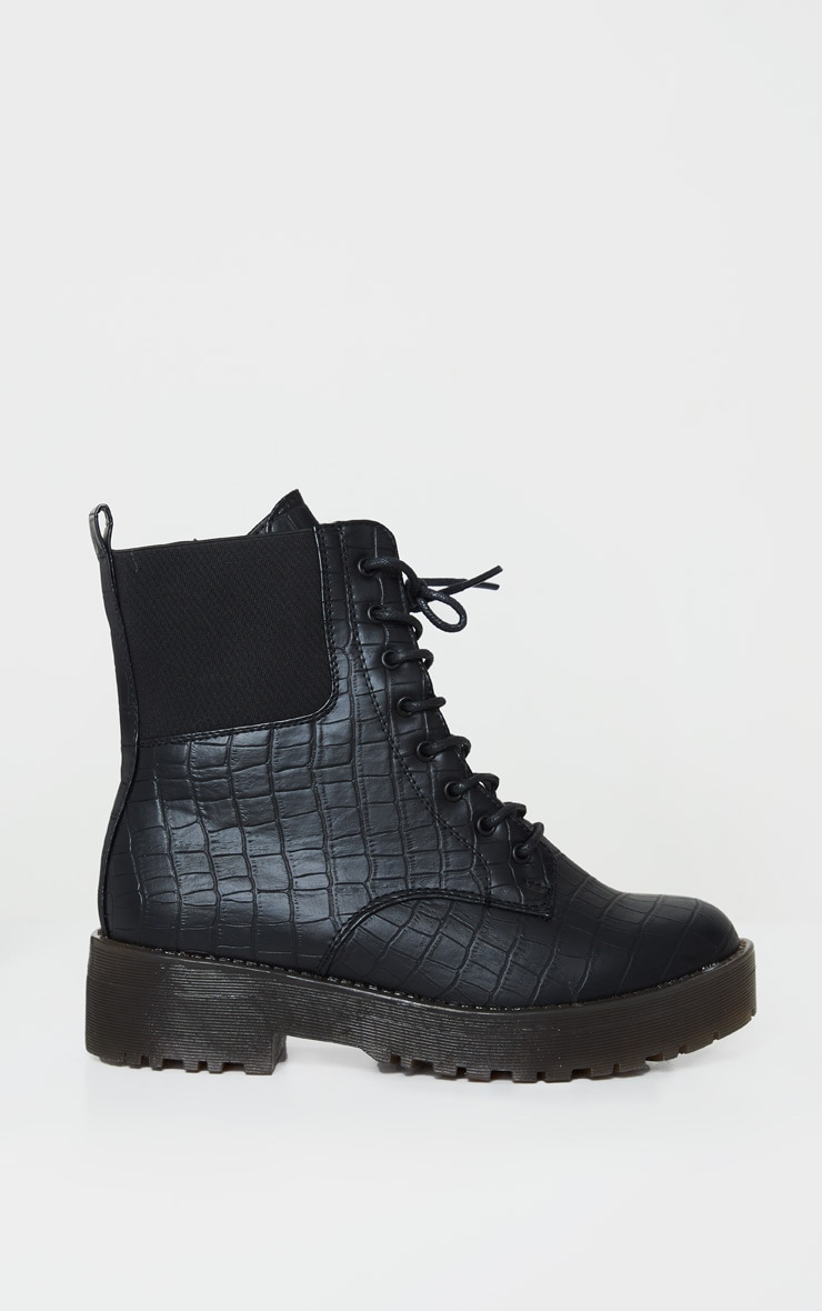 Black Croc Wide Fit Chunky Lace Up Ankle Boot 4