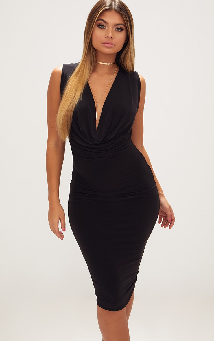 Black Slinky Cowl Neck Midi Dress 1